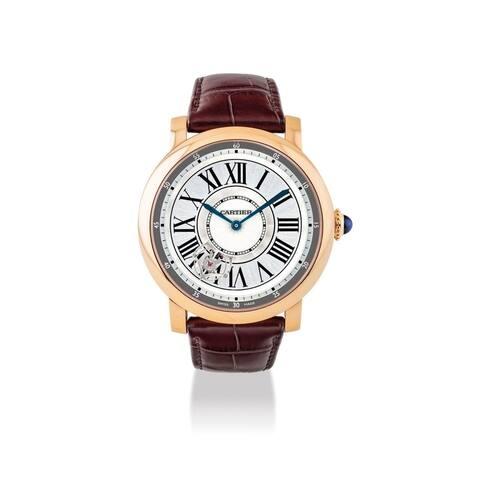 Cartier Men's W1556209 'Rotonde De Cartier' Black Leather Watch