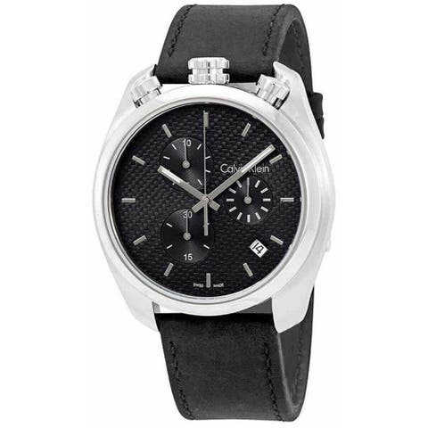 Calvin Klein Men's K6Z371C4 'Control' Chronograph Black Leather Watch