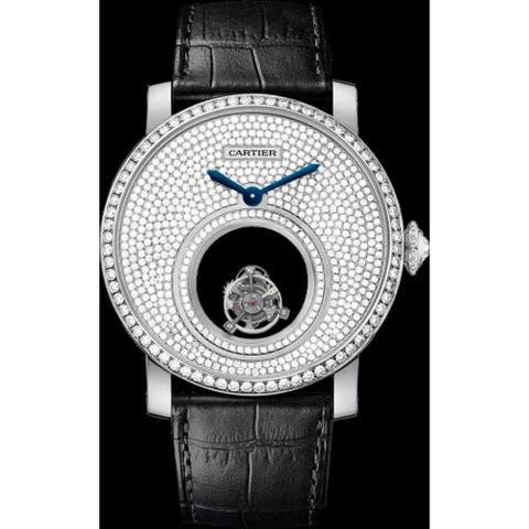 Cartier Men's HPI00588 'Rotonde De Cartier' Diamond Black Leather Watch