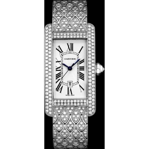 Cartier Women's HPI00622 'Tank' White Gold-Tone Stainless Steel Watch