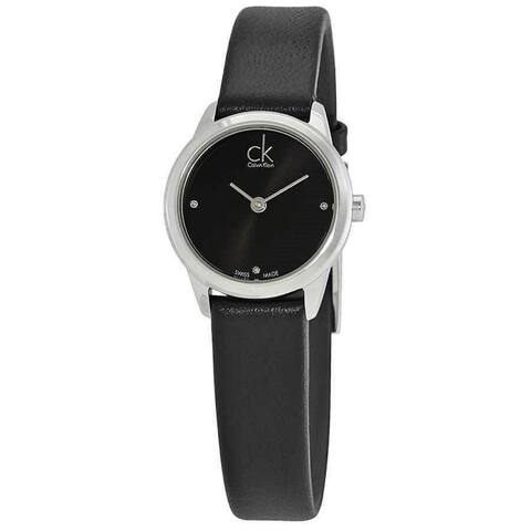 Calvin Klein Women's K3M231CS 'Minimal' Black Leather Watch