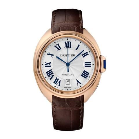 Cartier Women's WGCL0019 'Cle De Cartier' Brown Leather Watch