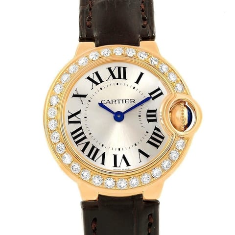 Cartier Women's WE900151 'Ballon Bleu' Black Leather Watch