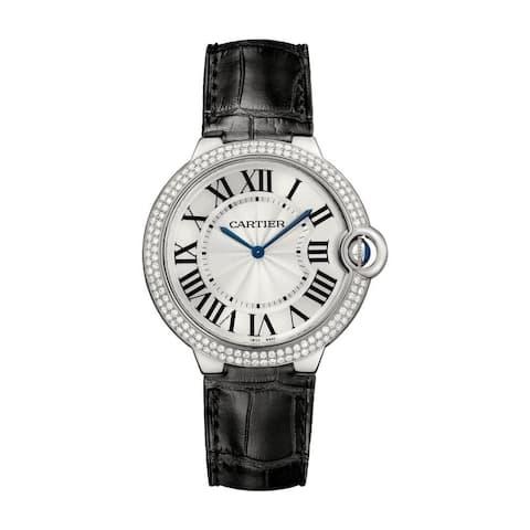 Cartier Men's WE902056 'Ballon Bleu' Black Leather Watch