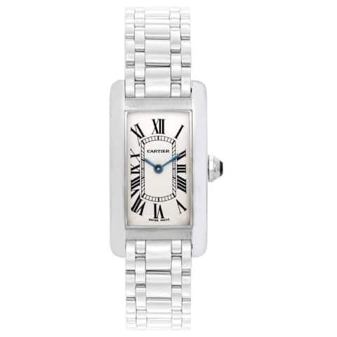 Cartier Women's W26019L1 'Tank' White Gold-tone Stainless Steel Watch