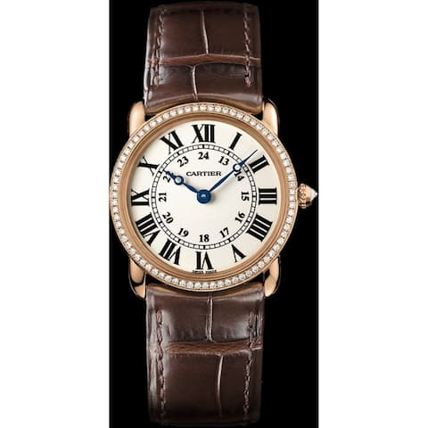 Cartier Women's WR000351 'Ronde Louis' Brown Leather Watch