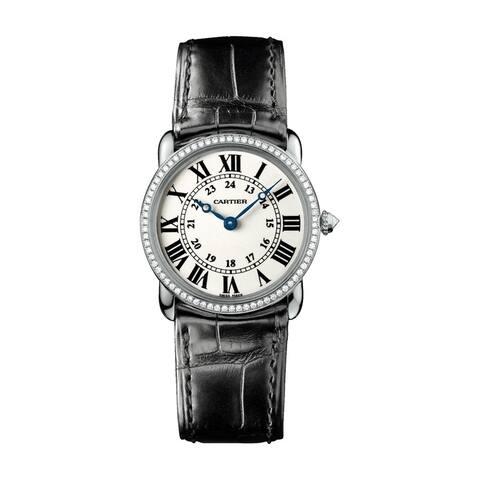 Cartier Women's WR000251 'Ronde Louis' Black Leather Watch