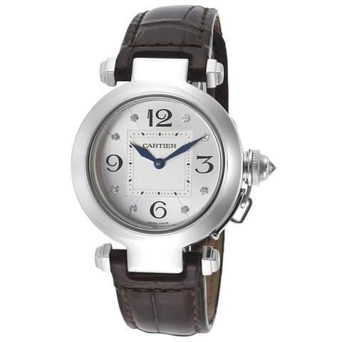 Cartier Women's WJ11902G 'Pasha' Diamond Black Leather Watch