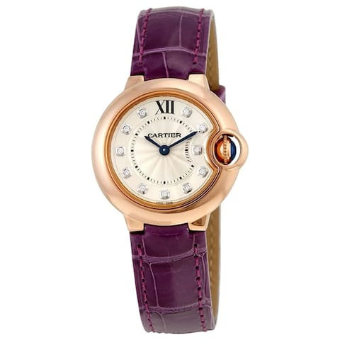 Cartier Women's WJBB0019 'Ballon Bleu' Diamond Purple Leather Watch
