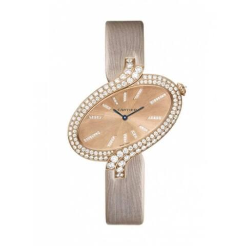 Cartier Women's WG800020 'Delices De Cartier' Diamonds Pink Fabric Watch