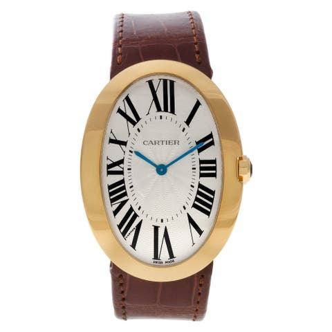 Cartier Women's W8000013 'Baignoire' Brown Leather Watch