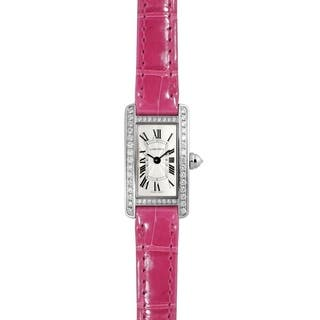 Cartier Women's WB710015 'Tank' Pink Leather Watch