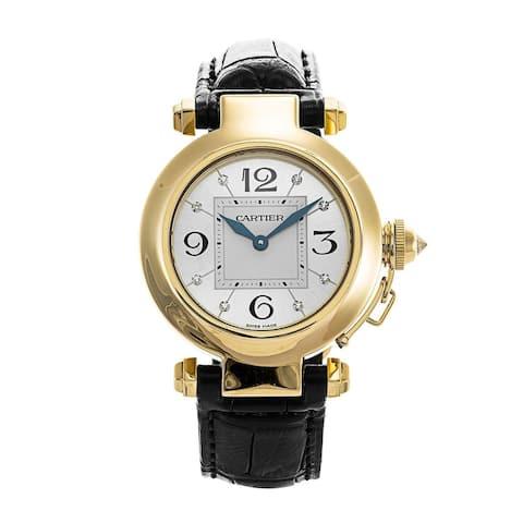 Cartier Women's WJ11891G 'Pasha' Diamond Black Leather Watch