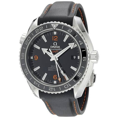 Omega Men's O23232442201002 'Seamaster' GMT Automatic Black Leather Watch