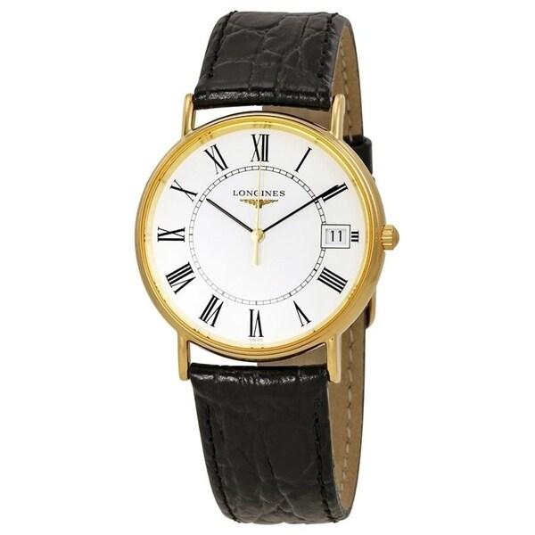 Longines Men's L4.819.2.11.2 'Le Grande Classique' Black Leather Watch. Opens flyout.
