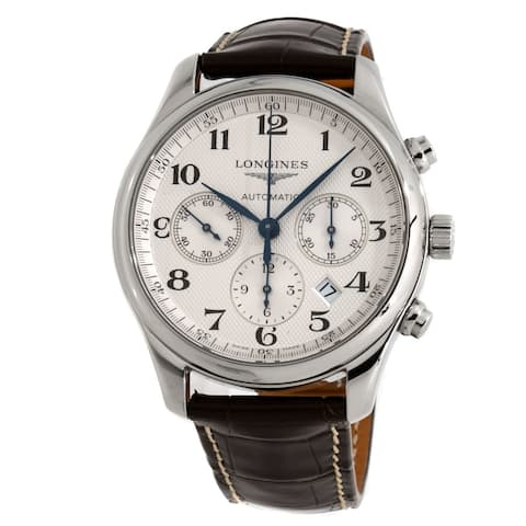 Longines Men's L27594783 'Master' Chronograph Automatic Brown Leather Watch