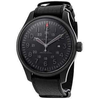 Link to Hamilton Men's H69809730 'Khaki Field' Black Leather Watch Similar Items in Men's Watches