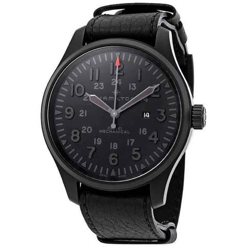 Hamilton Men's H69809730 'Khaki Field' Black Leather Watch