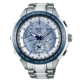 Link to Seiko Men's SSE039 'Astron GPS Solar' Chronograph Two-Tone Titanium and Ceramic Watch Similar Items in Men's Watches