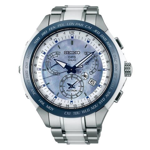 Seiko Men's SSE039 'Astron GPS Solar' Chronograph Two-Tone Titanium and Ceramic Watch