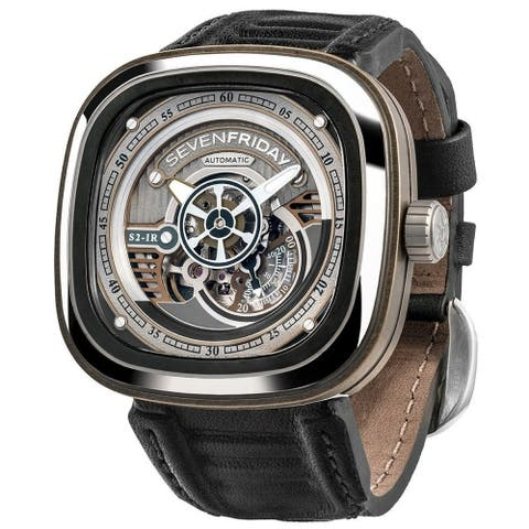 Sevenfriday Men's S2-01 'S-Series' Black Leather Watch