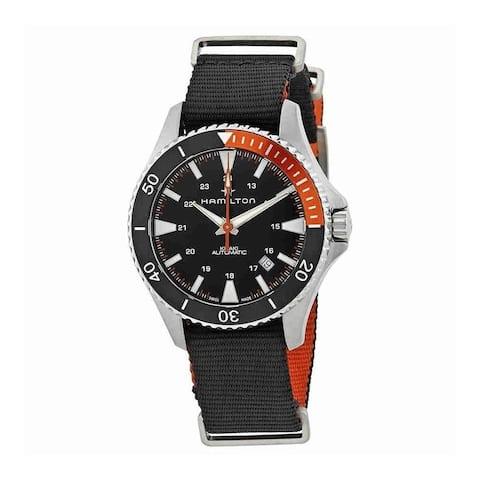 Hamilton Men's H82305931 'Khaki Navy Scuba' Black Nylon Watch