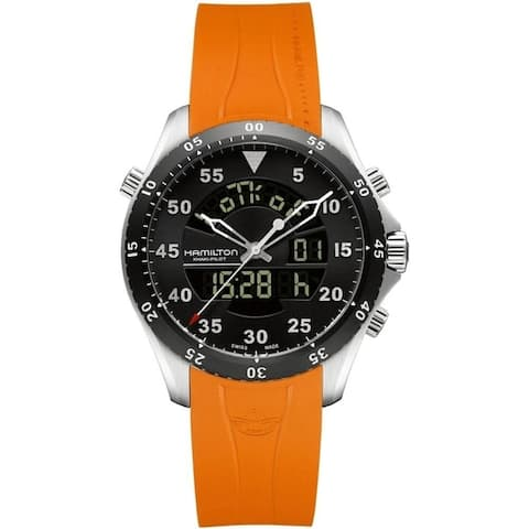 Hamilton Men's H64554431 'Khaki Aviation Flight Timer' Analog-Digital Orange Rubber Watch