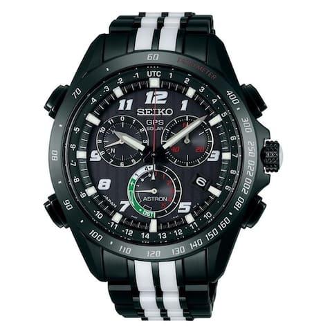 Seiko Men's SSE037 'Astron GPS Solar' Extra Black Leather Strap Chronograph Two-Tone Titanium and Ceramic Watch