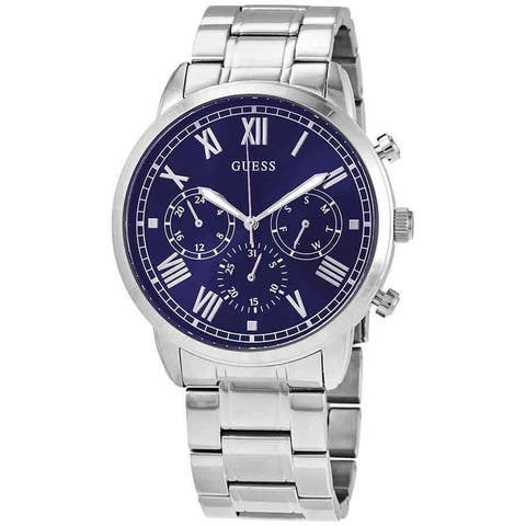 Guess Men's W1309G1 Hendrix Stainless Steel Watch With Blue Diel - 1 Size
