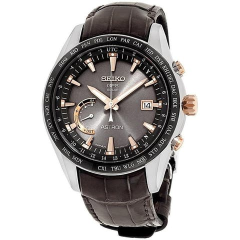 Seiko Men's SSE095 'Astron GPS Solar' World Time Brown Leather Watch