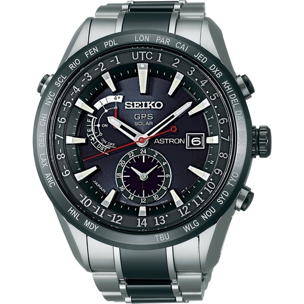 Seiko Men's SAST015 'Astron GPS Solar' World Time Two-Tone Stainless steel and Ceramic Watch. Opens flyout.