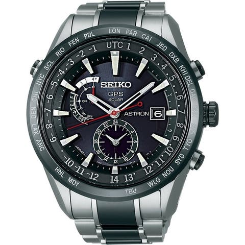 Seiko Men's SAST015 'Astron GPS Solar' World Time Two-Tone Stainless steel and Ceramic Watch