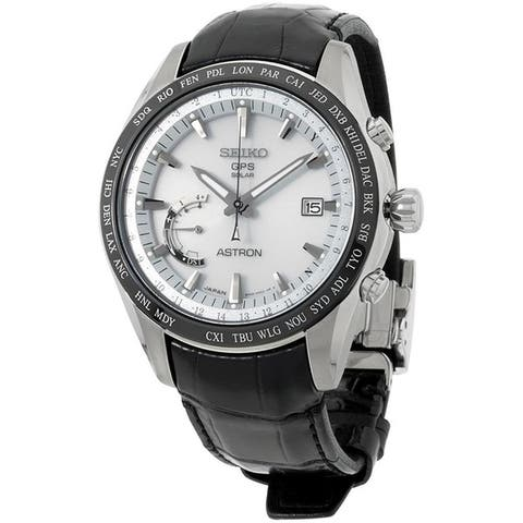 Seiko Men's SSE093 'Astron GPS Solar' World Time Black Leather Watch