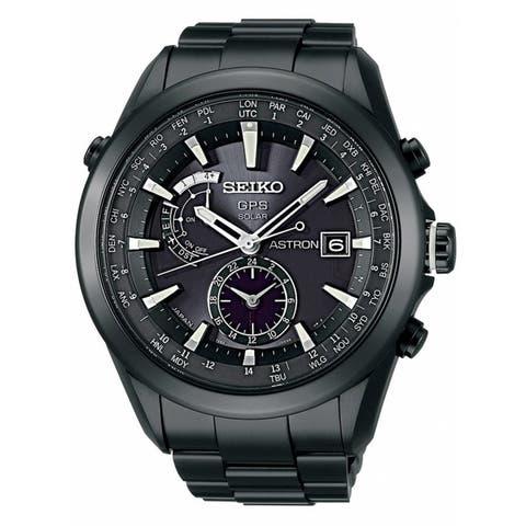 Seiko Men's SAST007 'Astron GPS Solar' World Time Black Titanium Watch