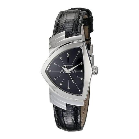 Hamilton Women's H24211732 'Ventura' Black Leather Watch