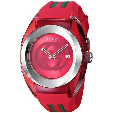 Gucci Unisex YA137103 Sync Red Stainless Steel Watch