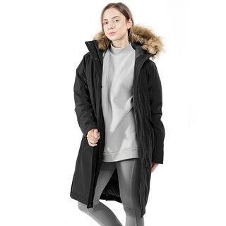 Link to Women's Down Hooded Puffer Jacket Removable Faux Trim Black Similar Items in Women's Outerwear