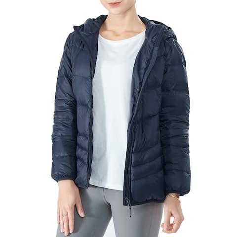 Women's Heated Down Jacket Hooded Puffer Winter Coat Navy