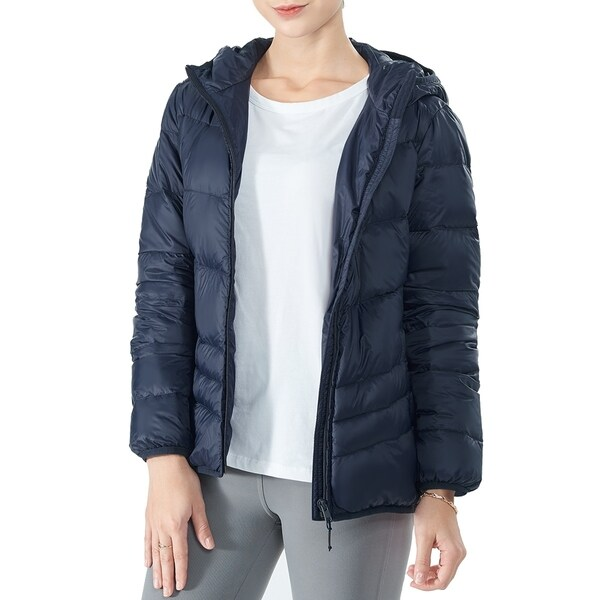 Women's Heated Down Jacket Hooded Puffer Winter Coat Navy
