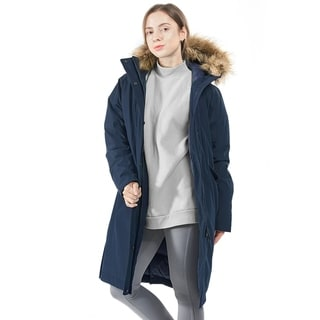 Women's Down Hooded Puffer Jacket Removable Faux Trim Navy