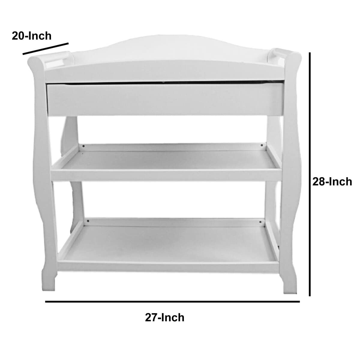 Wooden Changing Table With 1 Drawer And 2 Bottom Shelves White