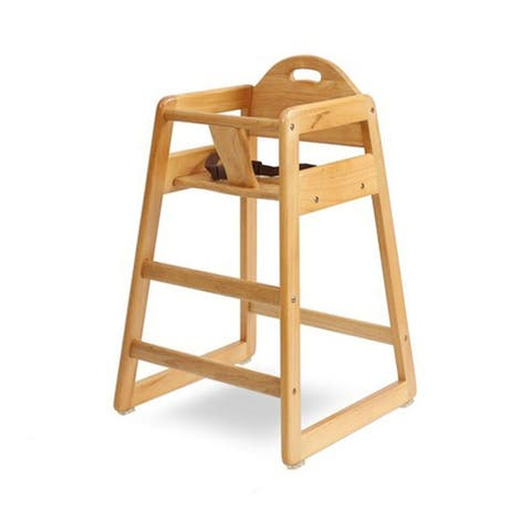 Wooden High Chair for Babies with Safety Belt, Natural Brown