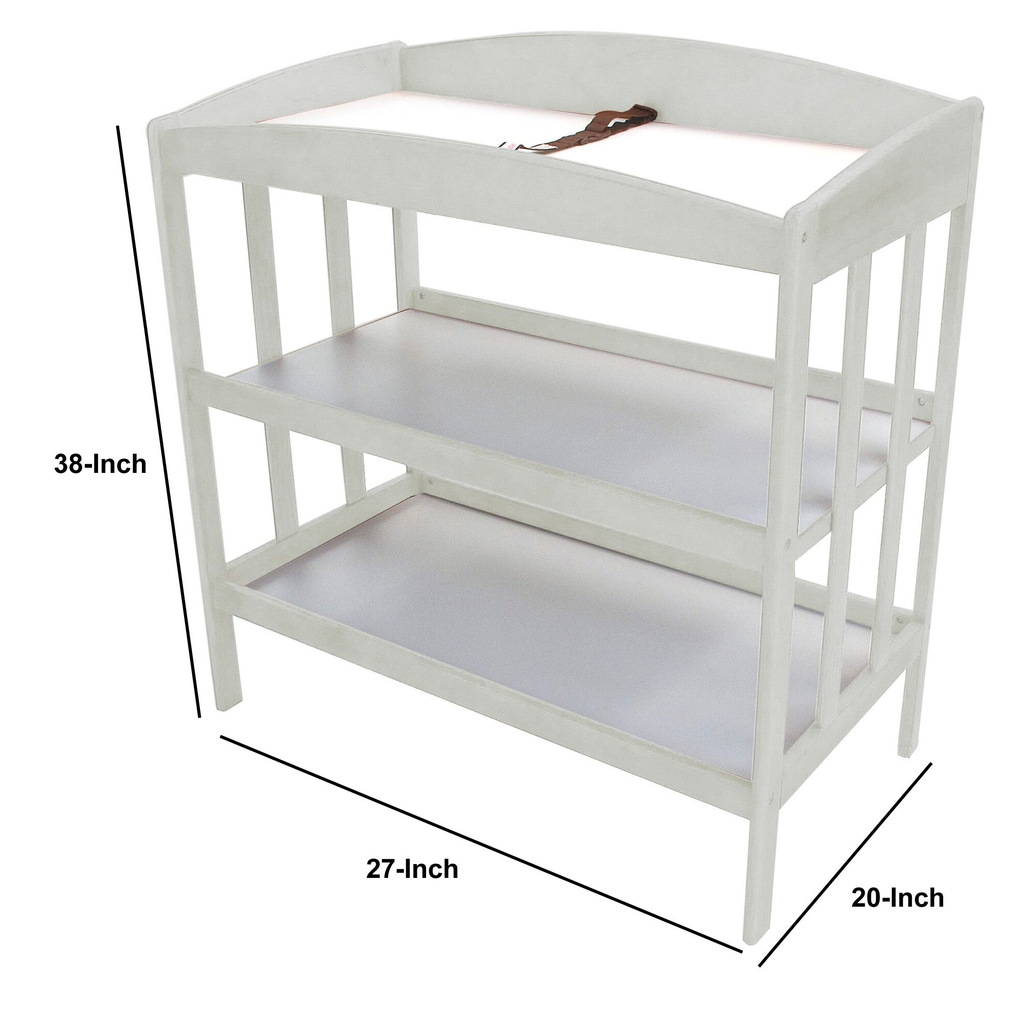Wooden Changing Table With 2 Shelves And Slatted Sides White