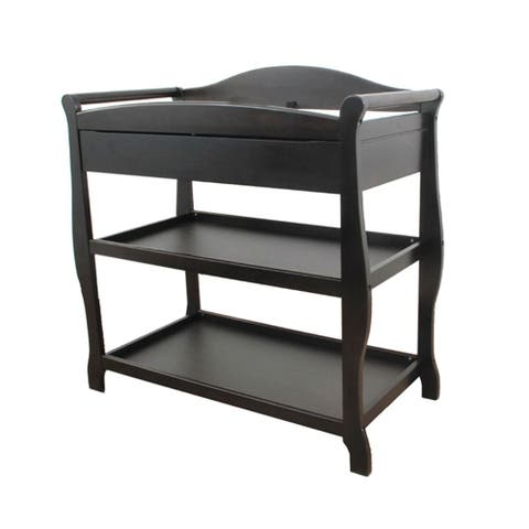 Black Wood Changing Table with 1 Drawer and 2 Shelves