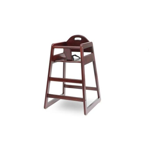 Wooden High Chair for Babies with Safety Belt, Cherry Brown