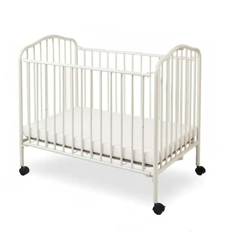 Industrial Grid Metal Crib with Folding Mechanism and Casters, White