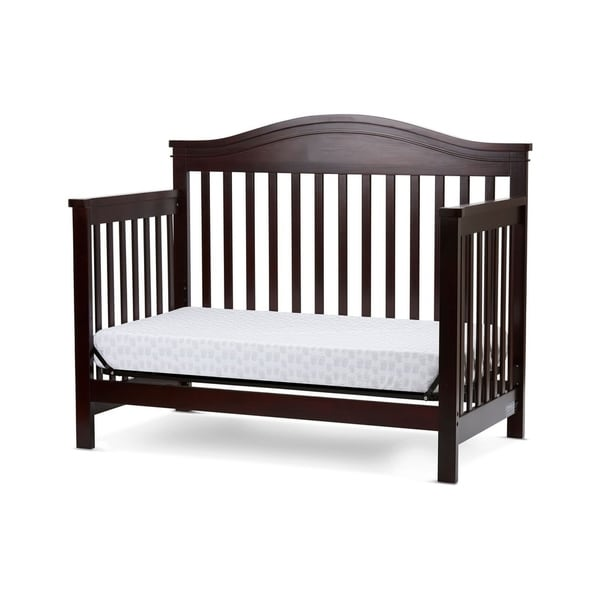 Wooden 4 in 1 Convertible Crib with Slatted Details, Cherry Brown