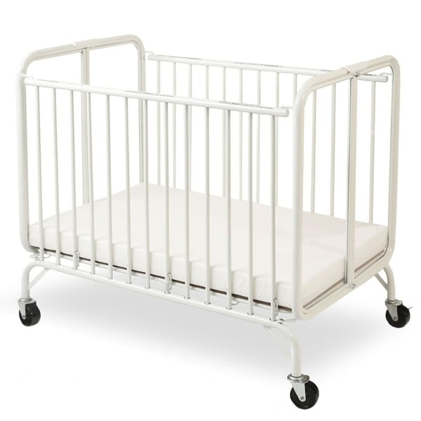 Slatted Foldable Metal Crib with Casters and Acrylic Panels, White