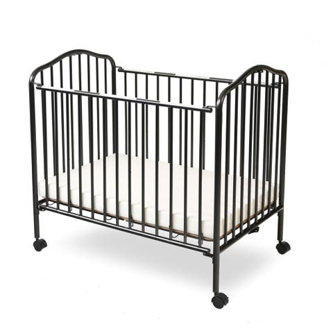 Industrial Grid Metal Crib with Folding Mechanism and Casters, Black