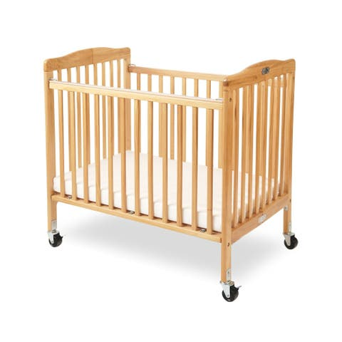 Slatted Foldable Wooden Crib with Caster Support, Natural Brown